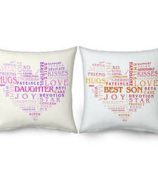 Buy Heart Shape Word Print Cushions For Daughter n Son gifts-for-mom online