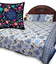 Buy Cotton Double Bedsheet Set n Printed Cushion Gift gifts-for-mom online