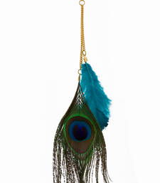 Buy blue and peacock feather earring Other online