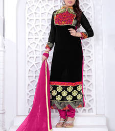 Buy Black embroidered net semi stitched salwar with dupatta party-wear-salwar-kameez online