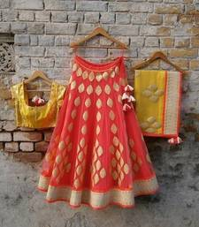 Buy orange and yellow georget eathnic and traditional lehnga with dupatta bridal-lehenga online