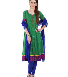 GREEN embroidered Cotton stitched salwar with dupatta shop online