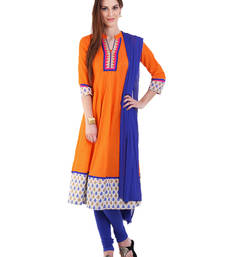 Buy ORANGE embroidered Cotton stitched salwar with dupatta readymade-suit online