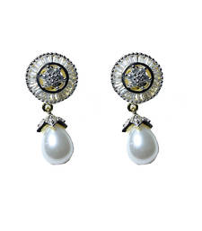 Buy Beautiful Pearl Baguette Setting earring danglers-drop online