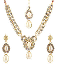 Buy Designer Golden Partywear Necklace necklace-set online