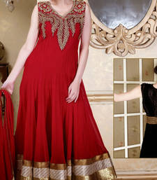 Buy Red embroidered Georgette stitched salwar with dupatta readymade-suit online