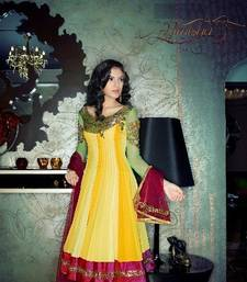 Buy Yellow embroidered Georgette stitched salwar with dupatta readymade-suit online