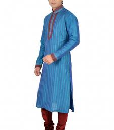 Buy Blue Dupion Silk Embroidered Readymade Kurta Pajama kurta-pajama online
