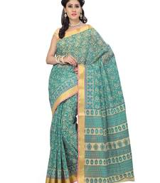 Buy Green printed cotton saree with blouse printed-saree online