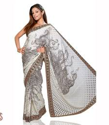 Buy Offwhite Black Designer saree cotton-saree online