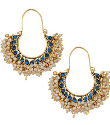 Buy Chandni pearl hoop traditional Indian golden finish earrings saea0879bl hoop online