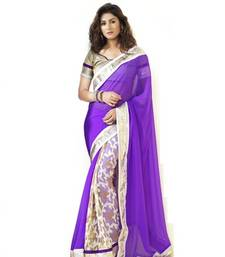 Buy Purple brasso georgette saree with blouse brasso-saree online