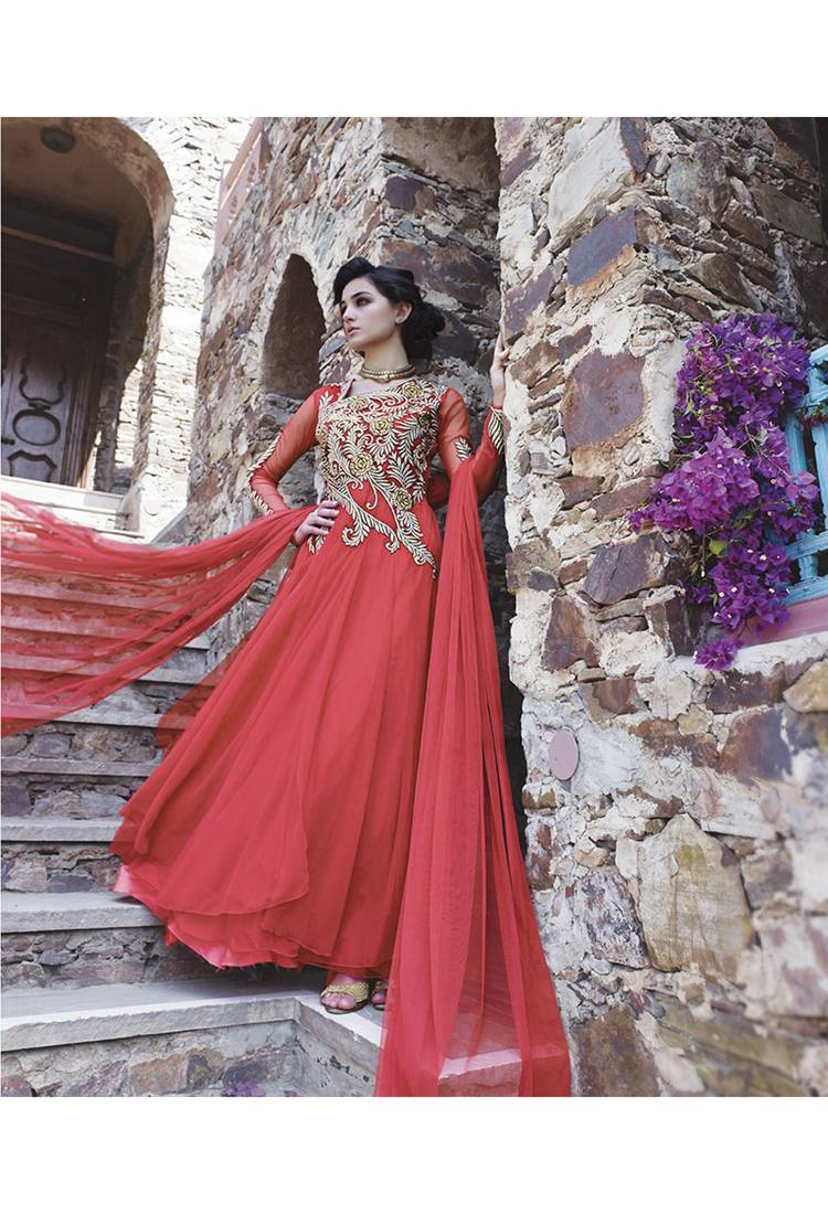 Buy red embroidered net party wear gowns online for Floor touch gown