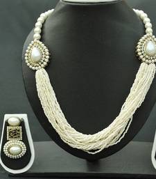 Buy Exquisite Multistrand Pearl Necklace with White stones & matching long pearl earrings necklace-set online