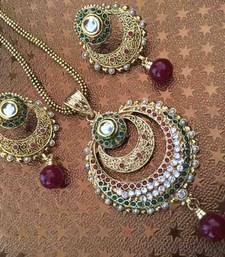 Buy Ethnic Indian Jewelry Bollywood Red Green Pearl Kundan Polki Pendent Set a181 necklace-set online