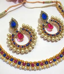 Buy Pink and Blue Tilak Polki Necklace Set necklace-set online