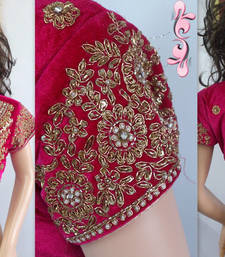 Buy PINK VELVET stitched readymade-blouse crop-top online