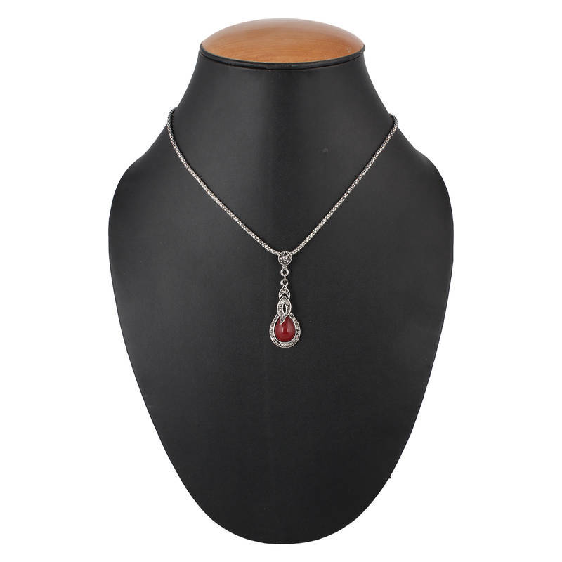 Silver Red Granite : Buy silver red brass stone pendant for women online