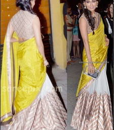 Buy YEALLO WHIE SILK GEORGETTE EMBROIDERY WORKED CELEBRITY SAREE WITH BLOUSE half-saree online