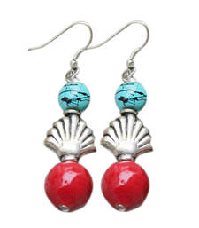 Buy Turquoise and Red Earrings danglers-drop online