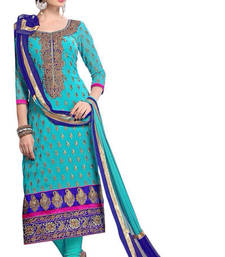 Buy Styles Closet Sky blue embroidered Chanderi Dress material with dupatta pakistani-salwar-kameez online