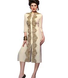 Buy Designer Cream Color Georgette Designer Kurti kurtas-and-kurti online