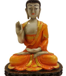 Buy Meditating Buddha Idol in Orange sculpture online