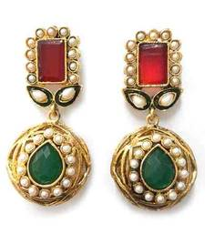 Buy Jaipur Ruby Green Gokru Earring jhumka online