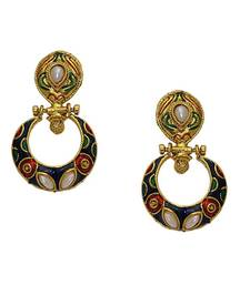 Buy Blue And Maroon Gold Plated Earing danglers-drop online