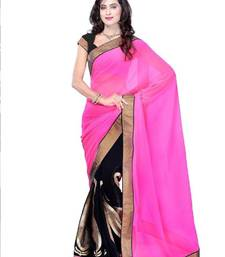 Buy Pink and black Embroidered Chiffon saree with blouse chiffon-saree online