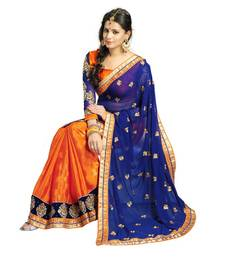 Buy Orange and Navy Blue Embroidered Jacquard saree with blouse jacquard-saree online