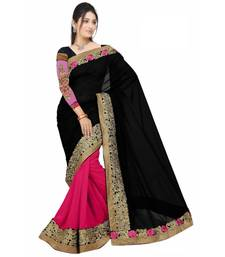 Buy Black Embroidered Chiffon saree with blouse chiffon-saree online