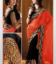 Buy orange and black embroidered georgette saree with bloouse bollywood-saree online