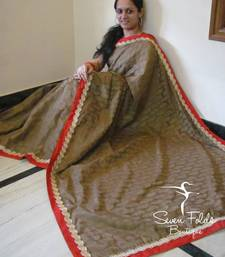 Beautiful Brown Chanderi Silk Designer Saree shop online