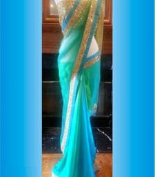 Buy Sky Blue embroidered net saree with blouse bollywood-saree online