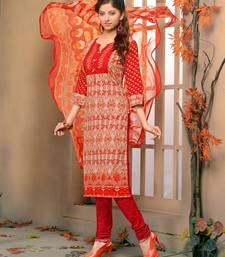 Buy Red printed cotton unstitched salwar with dupatta party-wear-salwar-kameez online