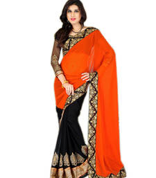 Buy orange and black embroidered georgette saree with blouse party-wear-saree online