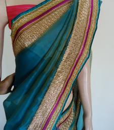 Buy beauty in blue saree chanderi-saree online, Buy chanderi-sarees online