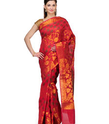Buy Red woven cotton silk saree with blouse banarasi-saree online