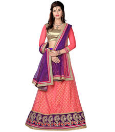 Pink net embroidered unstitched lehenga shop online