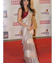 Buy Priyanka Chopra White and Red Heavy saree with blouse priyanka-chopra-saree online