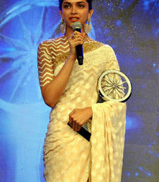 Buy Deepika Padukone Cream Fancy Designer saree with blouse deepika-padukone-saree online