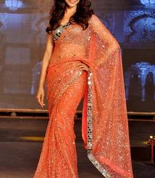 Buy Deepika Padukone Orange Fancy Designer Stylish saree with blouse deepika-padukone-saree online