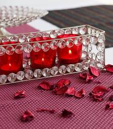 Buy Glimmery  Rectangle Shape Crystal Triple Tea Light Holder candle online