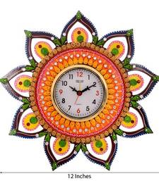 Buy Decorative and Glossy Papier-Mache Wooden Wall Clock wall-clock online