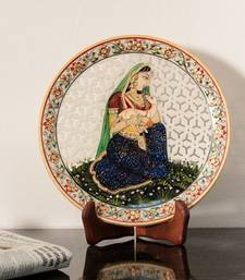 Buy Ragini with Goat Child Marble Decorative Platter with Wooden Stand decorative-plate online