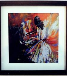 Buy Girl Playing Piano Design Satin Matt Texture Framed UV Art Print painting online