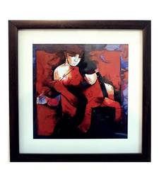 Buy Abstract Love Scene Satin Matt Texture Framed UV Art Print painting online