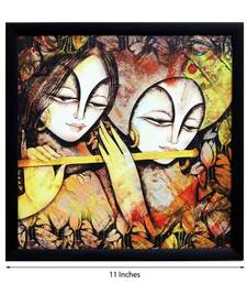 Buy Radha Krishna Satin Matt Texture Framed UV Art Print thanksgiving-gift online
