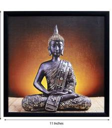 Buy Meditating Buddha Design Satin Matt Texture Framed UV Art Print congratulation-gift online